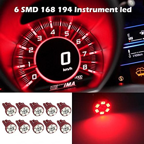Partsam 10x Red Gauge Cluster Instrument Speedometer T10 Wedge 12V LED Dash Light Bulb (1987 Toyota Pickup Accessories compare prices)