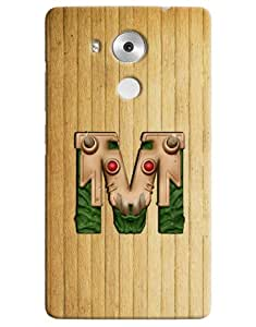 Omnam Single Name Stylish Alphabet M Printed Designer Back Cover Case For Huawei Honor Mate 8