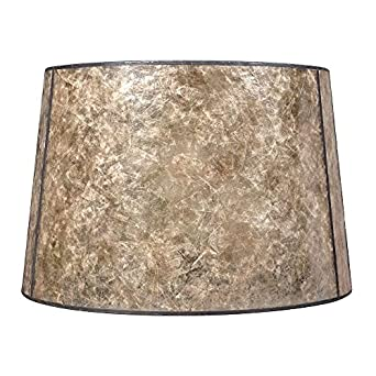blonde mica drum lamp shade with bronze spider assembly. Black Bedroom Furniture Sets. Home Design Ideas