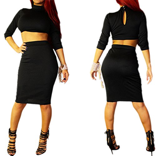 Alralel Women Sexy 3/4 Sleeve Turtle Neck Shirt & Skirt Clubwear Party Set Two