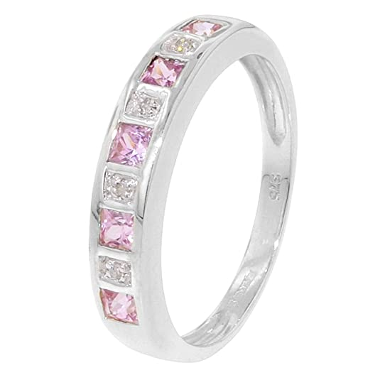 White Gold Diamond Squares Pink Sapphire Half Eternity Ring