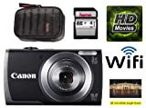 Canon PowerShot A3500 IS Digital Camera with Wi-Fi - Black (16 MP, 28mm Wide Angle, 5x Optical Zoom) 3.0 inch LCD Including Hama 4GB SD card & case as a bundle kit (Higher model of A2500)