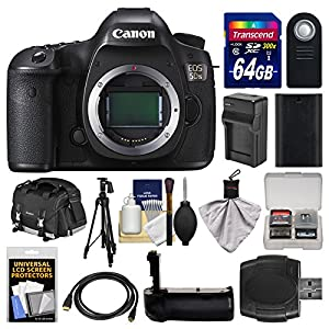 Canon EOS 5DS Digital SLR Camera Body with 64GB Card + Case + Battery & Charger + Grip + Tripod + Remote + Kit