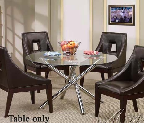 Cheap Dining Table with Glass Top and Metal Stands in Chrome Finish (VF_AM07965)