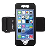 Tuneband for iPhone 5S (ALSO SEE LISTINGS FOR IPHONE 5 and IPHONE 5C), Grantwood Technology's Armband, Silicone Skin, and Front Screen Protector (Black)