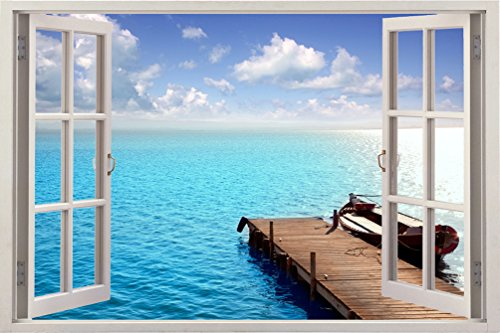 Ocean Deck 3D Removable Wall Decals Stickers Posters Window Vinyl Art for Walls by Bomba-Deal 33.5