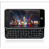 Sliding Wireless Bluetooth Keyboard Hard Shell Back Case Cover for iphone5 5G - Black