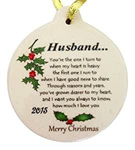 For My HUSBAND with Love 2015 Porcelain Christmas Ornament Rhinestone Crystal Detail
