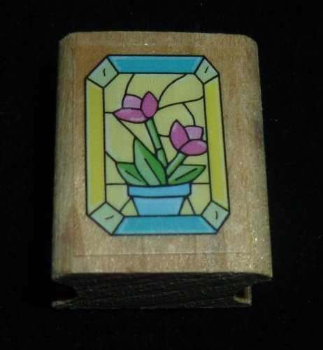 Stained Glass Window With Flowers Rubber Stamp