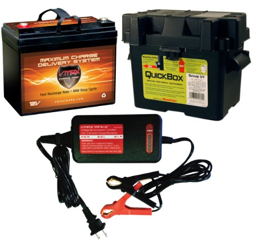 """Vmax857 & Bc1204 &U1 Box Pkg 12 Volt 35Ah Sla Agm Deep Cycle Group U1 Battery U1 Battery Box & Vmax 3.3Amp 4-Stage 12V Microprocessor Controlled """"Smart"""" Charger/ Tender/ Maintainer"""