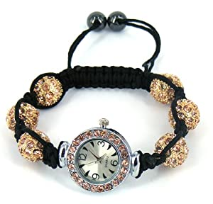 26f13cb27faff0 Buy Shamballa bracelet watch sparkling crystal disco balls -Pale pink pink  bezel D12 at £