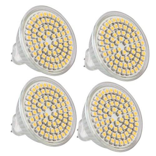 4 Mr16 Gu5.3 Warm White 3528 Smd 72 Led Home Spot Light Lamp Bulb Spotlight 12V