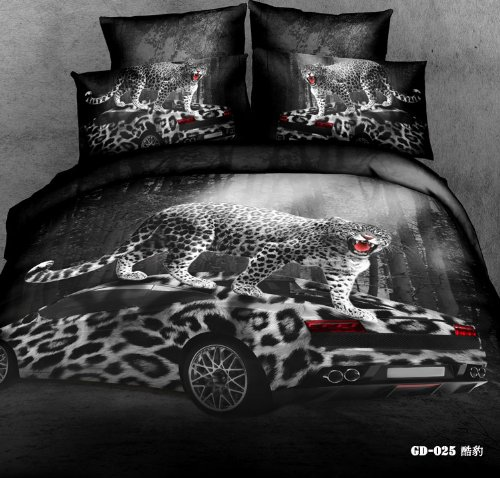 Queen King Size 100% Cotton 7-Pieces 3D Roses Tiger Leopard Car Floral Animal Prints Fitted Sheet Set With Rubber Around Duvet Cover Set/Bed Linens/Bed Sheet Sets/Bedclothes/Bedding Sets/Bed Sets/Bed Covers/ Comforters Sets Bed In A Bag (King, 17) front-972013