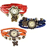 Combo of 3 VB-310 Vintage Butterfly Orange + Red + Blue