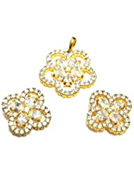 M Gold Designer 18k Gold Plated Diamond Pendant Set White PS80GJ For Women