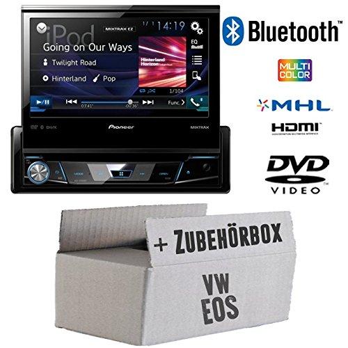 VW Eos - Pioneer AVH-X7800BT - 1-DIN 7-Zoll USB Bluetooth DVD - Autoradio - Einbauset