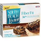 South Beach Living Fiber Fit Bars, Mocha, 5-Count Bars in 6.15-Ounce Boxes (Pack of 8) ~ South Beach Diet