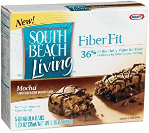 South Beach Living Fiber Fit Bars, Mocha, 5-Count Bars in 6.15-Ounce Boxes (Pack of 8)