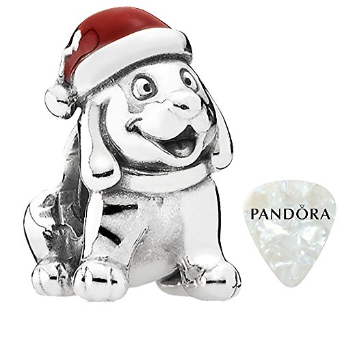 Christmas Puppy, Red Enamel Charm, Two Piece Bundle, with Pandora Clasp Opener