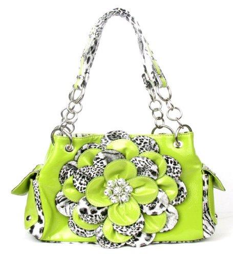 Leopard Lime Green Flower Rhinestone Handbag