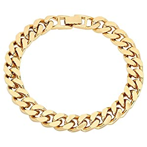 9mm Mens Yellow Gold Plated Flat Cuban Link Curb Bracelet