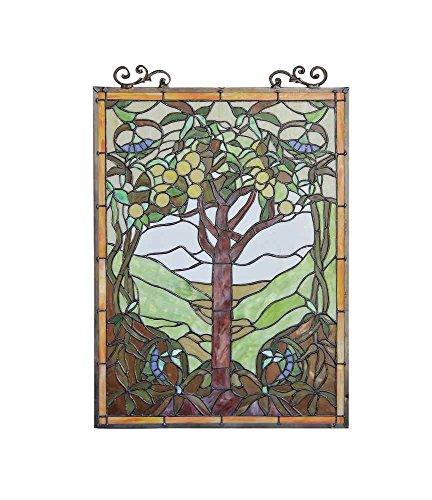 OLEA Fruits of life Tiffany-style Glass Window Panel 18x25 1