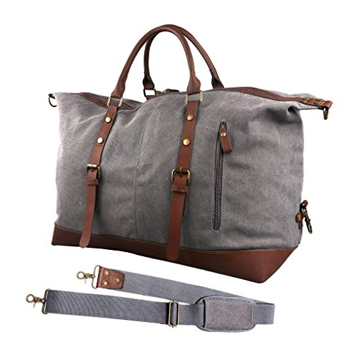 Oflamn Unisex Oversized Canvas Leather Travel Tote Duffle Bag (X-Large, Grey) (Faux Leather Garment Bag compare prices)