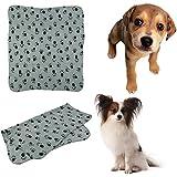 Alcoa Prime Cute Pet Puppy Dog Cat Blanket Paw Prints Soft Warm Fleece Mat Bed Cover (Color: Gray(S, M), Light Brown(L) )