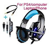 Beyda Tech NEW Gaming Headset Game Headphone Headsets with Microphone LED Light 3.5mm for PS4 Computer.Laptop.Tablet.All Mobile Phones with Noise Cancelling & Volume Control (Blue)