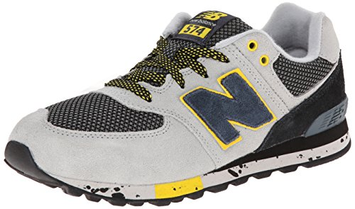 New Balance KL5749 Grade Lace Up Outdoor Running Shoe (Big Kid),Grey/Yellow,6 M US Big Kid