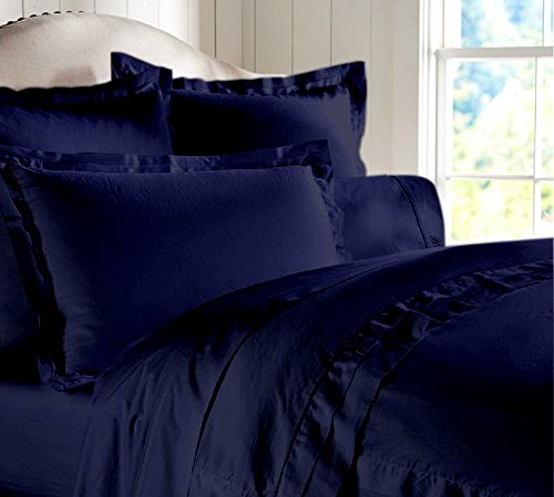"""Egyptian Cotton Luxurious Fitted Sheet With 15"""" Deep Pocket 800 TC Solid By Amrich Bedding ( Full XL , Navy Blue..."""