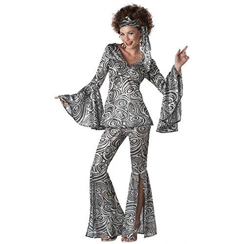 [GSG Disco Costumes for Women Adult 70s Dancer Halloween Fancy Dress] (Womens Masquerade Costume Countess)