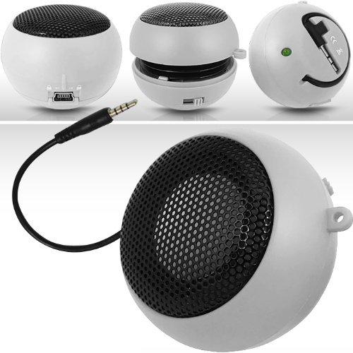 N4U Online White Super Sound Rechargeable Mini Pocket Size Portable Speaker 3.5Mm Audio Jack Built In With Usb Charger Lead Suitable For Blackberry Torch 9860