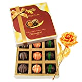 Pretty Admire Of Truffles With 24k Gold Plated Rose - Chocholik Luxury Chocolates
