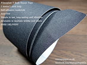 Filmoplast T - Bookbinding Cloth Acid-free Book Spine Repair Tape Black 1 Meter x 8cm - Free Deliver
