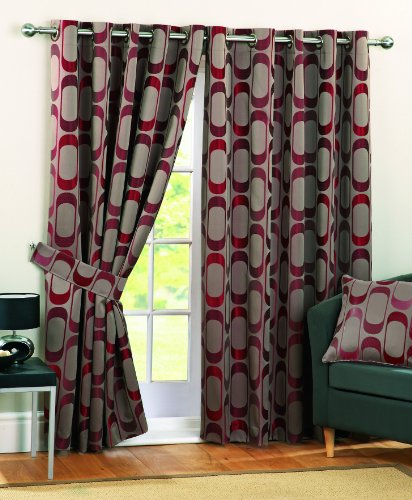 Curtina Osbourne Eyelet Lined Curtains, Red, 90x72 inch