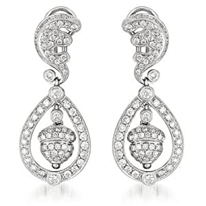 14k White Gold 2.45 Dwt Diamond Prince Katie Earrings - JewelryWeb