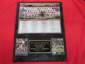 1972 Miami Dolphins PERFECT SEASON 2 Card Collector Plaque w 8x10 Team Photo by J & C Baseball Clubhouse