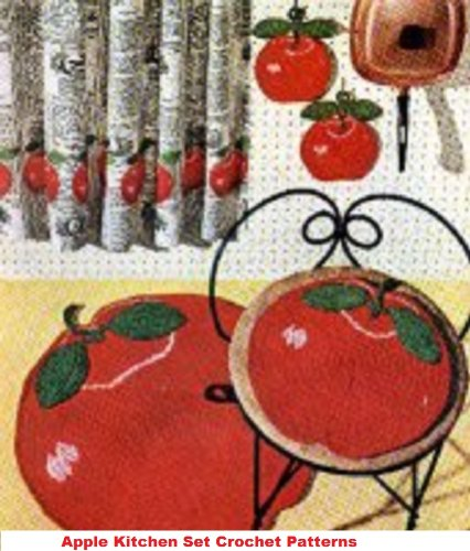 Apple Kitchen Set Crochet Pattern - Crochet an Apple Rug, Stool Covers and Potholders Patterns