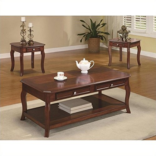 Coaster Home Furnishings 3 Piece Table Group-Warm Bourbon finish