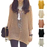 Women Batwing Short Sleeve Knitted Mesh Hollow Casual Blouse Jumper Sweater Tops