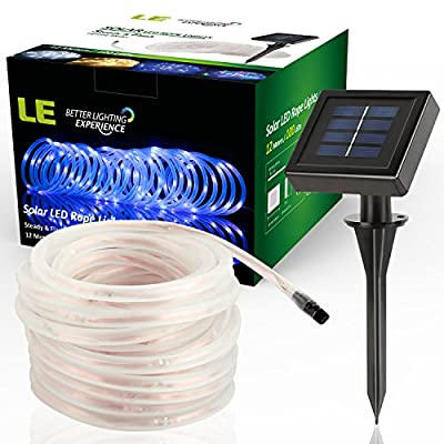 LE 10M 100 LED Solar Rope Lights, Waterproof Outdoor Rope Lights, Blue, Portable, LED String Light with Light Sensor, Ideal for Christmas/Wedding/Party/Decorations/Gardens/Lawn/Patio
