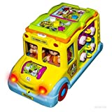 WolVol Activity Musical Yellow School Bus Toy With Headlights, Moves And Rides On Its Own, Passenger