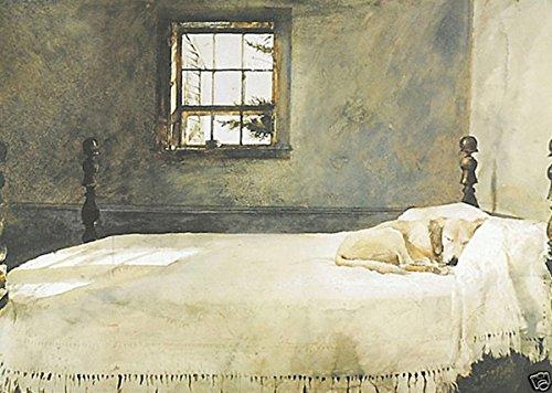 wyeth-chambre-parentale-andrew-house-chien-endormi-sur-lit-poster-483-x-40