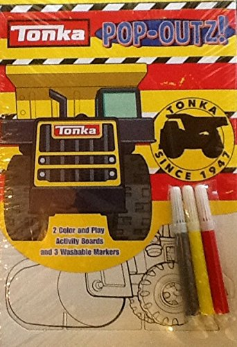 Pop-outs Mini Set ~ Tonka Toy Trucks ~ Coloring Activity Boards & Markers - 1