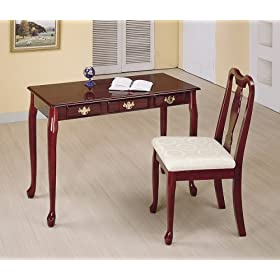Set of 2 Cherry Finish Queen Anne Design Secretary Desk With Chair Set