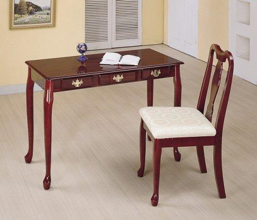 Set Of 2 Cherry Finish Queen Anne Design Secretary Desk