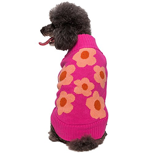Blueberry Pet 14-Inch Adorable Hollywood Doggie Sweater With Flower Print, Large, Cerise Pink front-979466