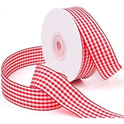 Laribbons 1 inch Wide Plaid Ribbon, Wired Gingham Ribbon for Craft - 25 Yard/spool (Red)