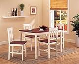 5 Pc. Set Cherry & Cream White Finish Solid Pine Wood Dining Room Kitchen T ....
